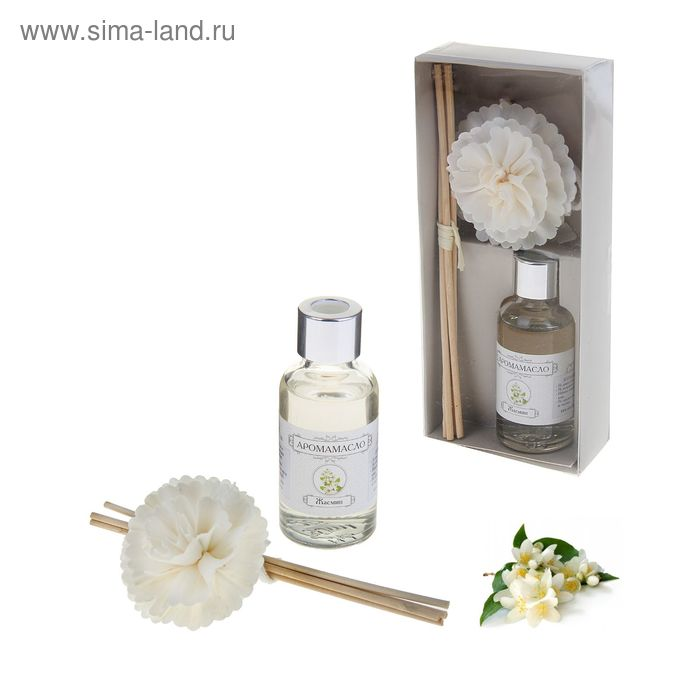 "Подарочный набор ""Хризантема"": диффузор 30 мл, палочки 4шт, декор, аромат жасмин"