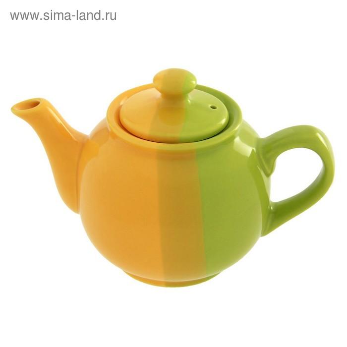 Чайник 600 мл, цвет зелено-желтый