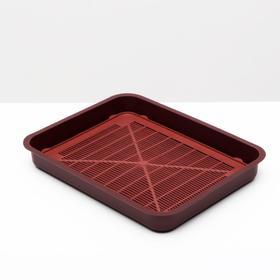 Туалет для котят, 35х 26 х 4 см, красно-бордовый