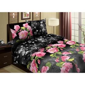 """Постельное бельё Pastel """"Южная ночь"""", цвет чёрный, евро, размер 200х220 см, 220х240 см, 70х70 см - 2 шт., поплин, 110 г/м2"""