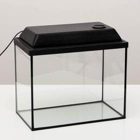 Аквариум прямоугольный с крышкой, 30 литров, 40 х 23 х 32/37,5 см, чёрный