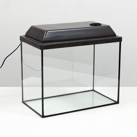 Аквариум прямоугольный с крышкой, 30 литров, 40 х 23 х 32/37,5 см, венге