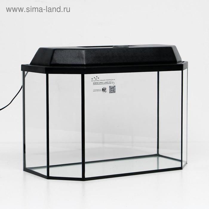 Аквариум с крышкой панорамный 50л, 56 х 26 х 36 см, черный