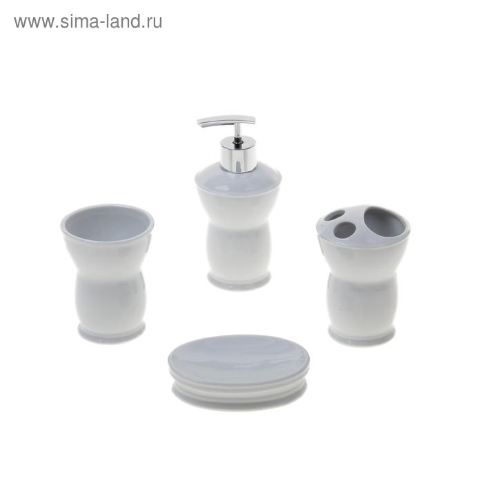"""Набор для ванной 4 предмета (Дозатор, мыльница, 2 стакана), """"Стоун талия"""""""