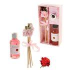 "Подарочный набор ""Букетик"": диффузор 30 мл, палочки 5шт, декор, аромат роза"
