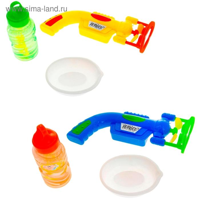 Мыльные пузыри с вентилятором на длинной ручке и тарелочкой, 60 мл, МИКС