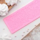 """Коврик для айсинга 18х7х0,5 см """"Цветочная мозаика"""", цвет розовый"""