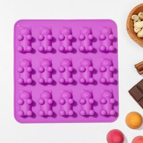 Форма для мармелада «Медвежата», 15 ячеек (4,5×2,5×2 см), 18×2 см, цвет МИКС