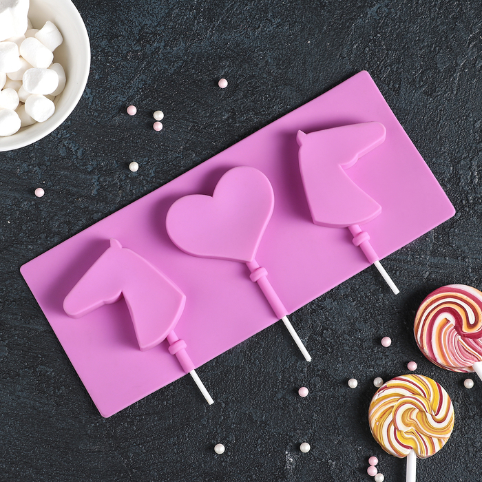 """Форма для леденцов и мороженого, 3 ячейки, 22х10 см """"Лошадки"""" с палочками, цвета МИКС"""