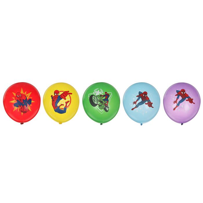 """Шары латексные 12"""" Марвел «Человек-паук», набор 5 шт. - фото 300276471"""
