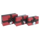 "Набор коробок 3 в 1 ""Комплимент"", цвет красный, 18,8 х 11,5 х 7 - 14,5 х 9,8 х 5 см"