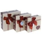 "Набор коробок 3 в 1 ""Сладкая любовь"", 19,5 х 19,5 х 9,5 - 15 х 15 х 6 см"