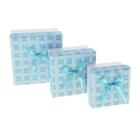 """Набор коробок 3 в 1 """"Фактура"""", цвет голубой, 11 х 11 х 7 - 7,5 х 7,5 х 5 см"""