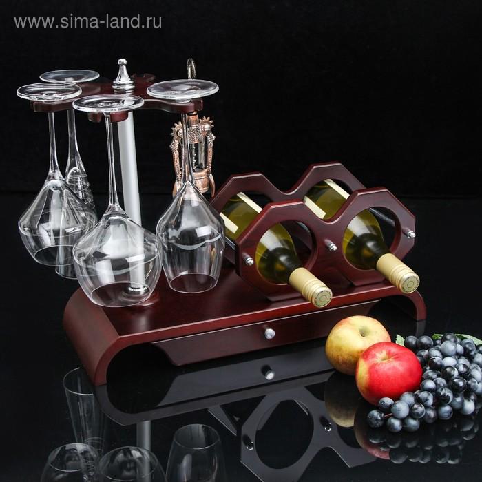 Мини-бар: подставка на 2 бутылки, 4 бокала 49х19х34 см