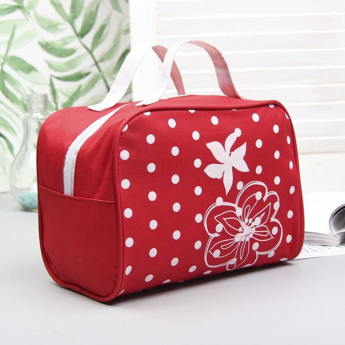 """Косметичка сумочка на молнии """"Горох"""", с ручками, 1 отдел, цвет красный"""