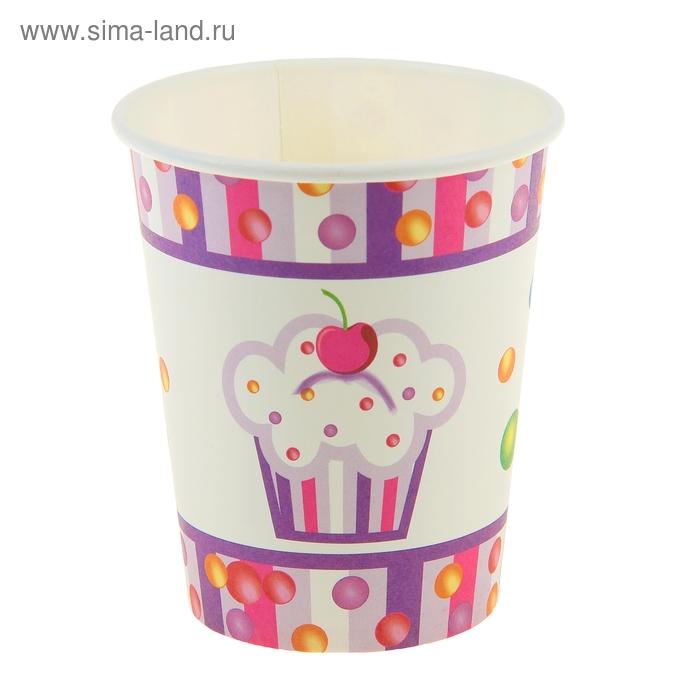 """Набор бумажных стаканов """"Пирожное"""" (6 шт), 220 мл"""