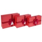 "Набор коробок 3 в 1 ""Идеал"", цвет красный, 28 х 20 х 8 - 24 х 15 х 6 см"