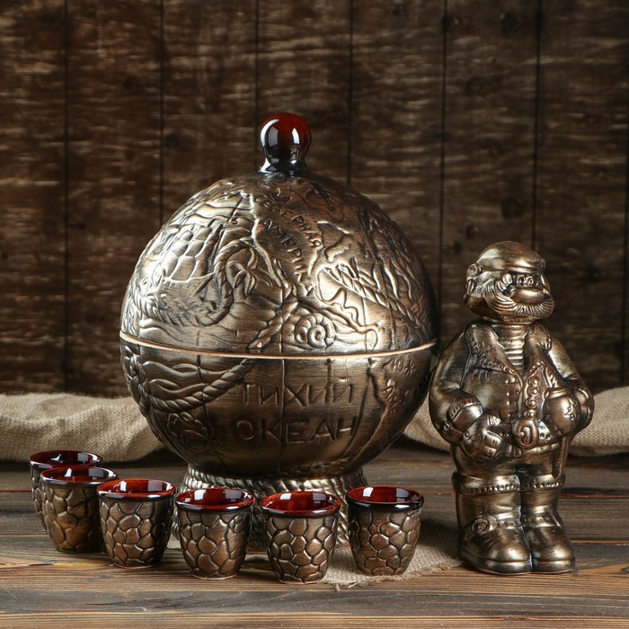 "Штоф с рюмками ""Бар глобус"" бронза, 8 предметов, 0,5 л"