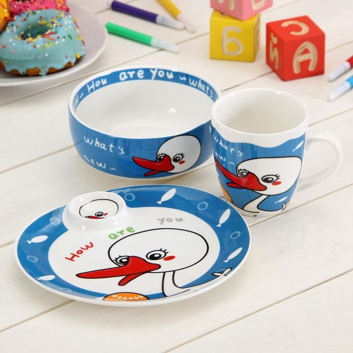 """Набор детской посуды 3 предмета """"Уточка"""":  кружка 250 мл, миска 350 мл, тарелка 17 см"""