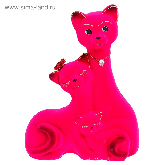 "Копилка ""Семейство котов"" флок, розовая"