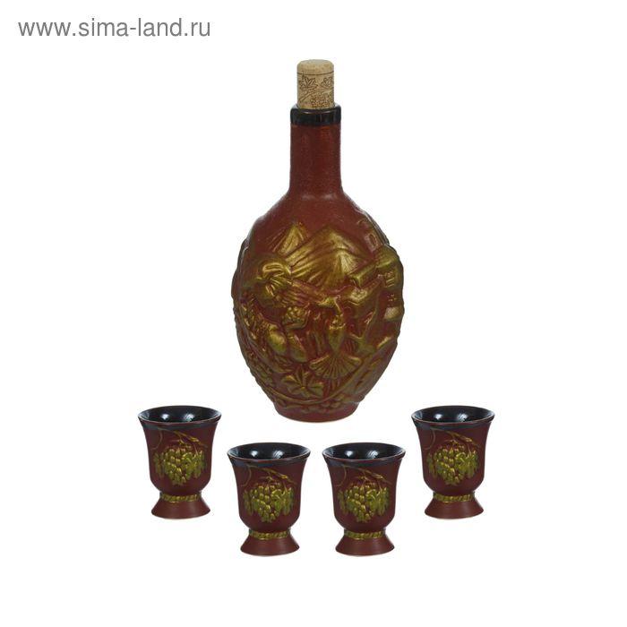 """Штоф с рюмками """"Тамина"""" коричневая глазурь, оливковое золото, 5 предметов, 0,5 л"""