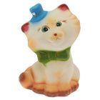 """Копилка """"Котик в шляпке"""" глянец, бело-бежевая"""