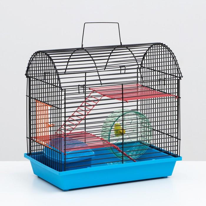 Клетка для грызунов 2-эт, метал. полочки, лесенка,домик и колесо(полукруглая),36х24х29см микс