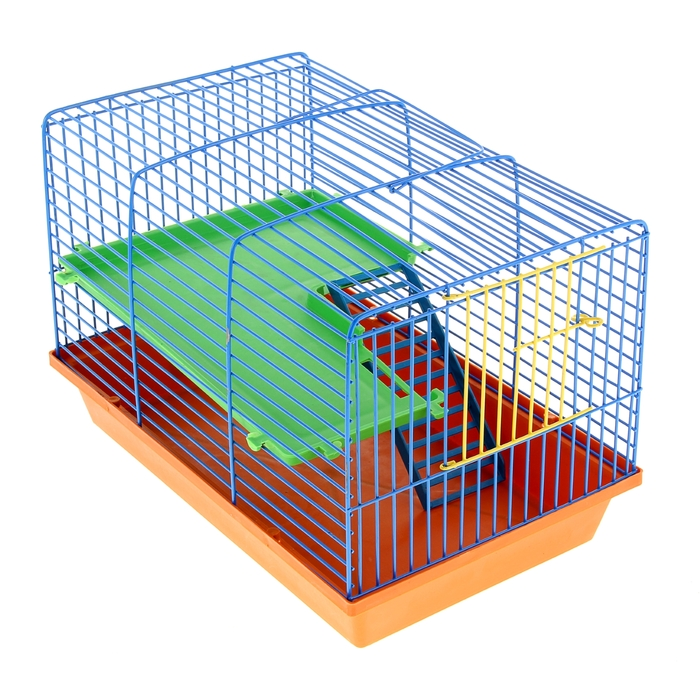 Клетка для грызунов 2-этажная, с пластиковыми полочками и лесенкой, 36 х 24 х 27 см