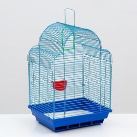 """Клетка для птиц """"Купола"""" (кормушка, жёрдочка, качель), 35 х 28 х 52 см  микс цветов"""