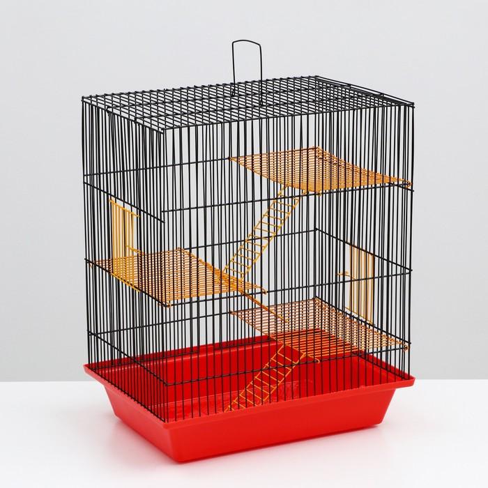 """Клетка для грызунов """"Гризли 4"""" с металлическими полками и лесенками, 41х 30 х 52 см"""