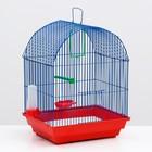 Клетка для птиц большая, полукруглая, поилка,  жердочка, качель, 35 х 28 х 45 см