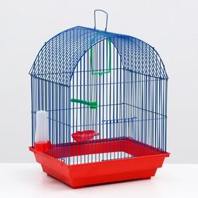 Клетка для птиц большая, полукруглая, поилка,  жердочка, качель, 35 х 28 х 45 см микс цветов