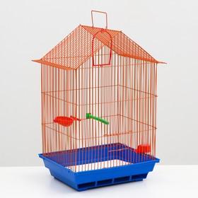 Клетка для птиц большая, крыша-домик(поилка, кормушка, жердочка, качель)35 х 28 х 55 см микс