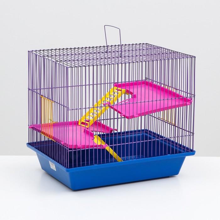 """Клетка для грызунов """"Гризли 3"""" с пластиковыми полками и лесенками, 41 х 30 х 38 см"""