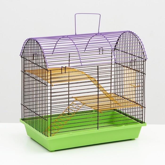 Клетка для грызунов 2-этажная с метал.полками и лесенками (полукруглая) 36х24х29см, микс