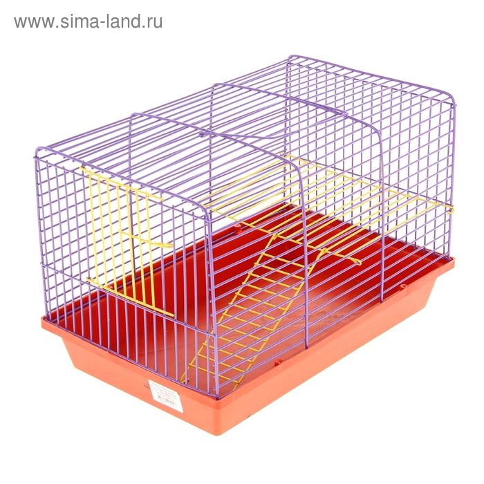 Клетка для грызунов 2-этажная, с металлическими полочками и лесенкой