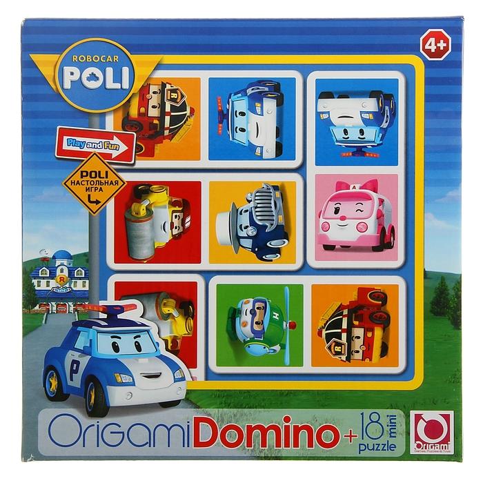 Домино Robocar + мини-пазл на 18 элементов