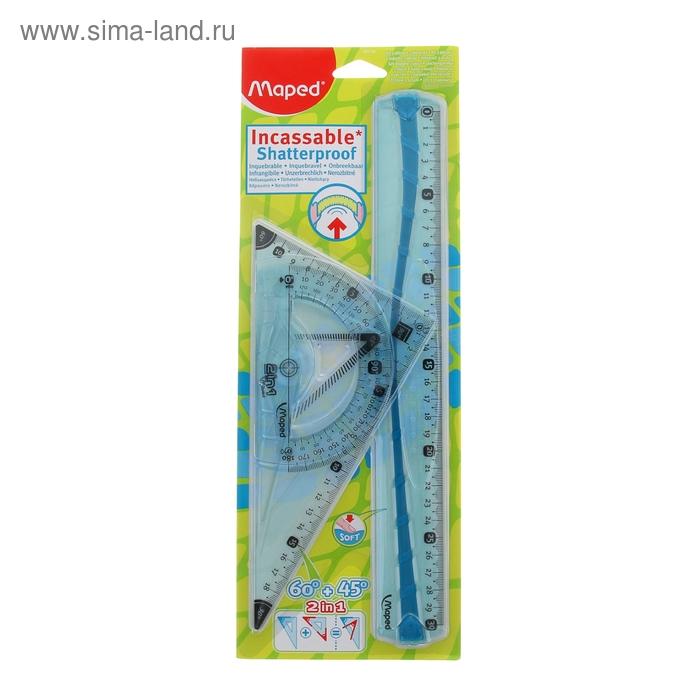 Набор геометрический FLEX макси: линейка 30см, угольник 2в1 21см, транспортир 12см