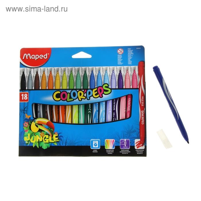 Фломастеры утолщенные 18 цветов JUNGLE, смываемые, картонная упаковка