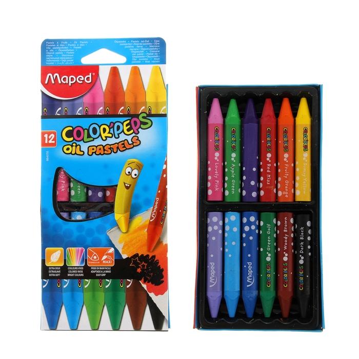 Пастель масляная детская 12 цветов Maped OIL PASTEL треугольный корпус