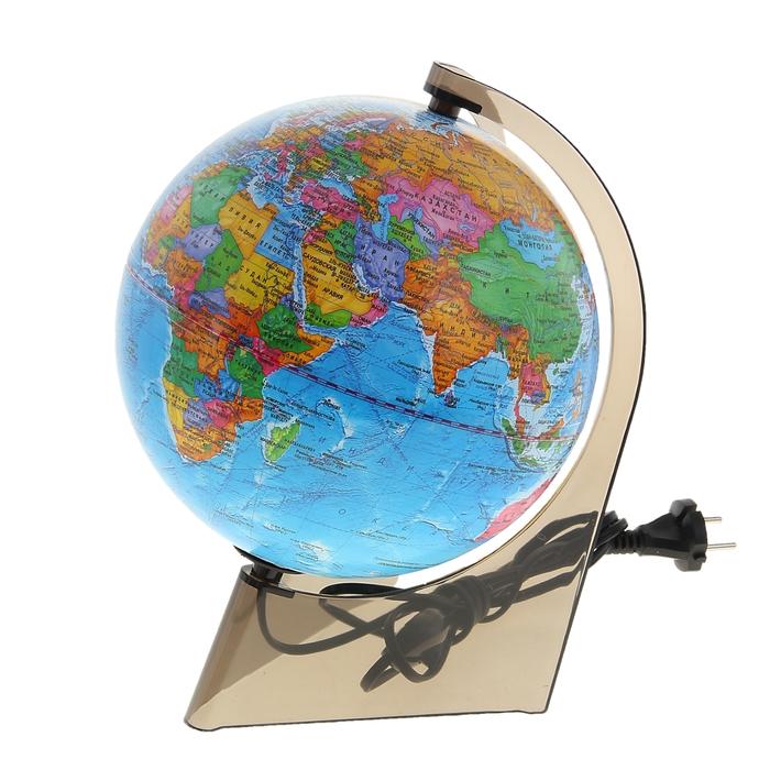 Глобус на треугольной подставке политический, диаметр 210 мм, с подсветкой