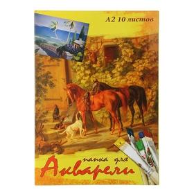 Папка для акварели А2, 10 листов, цветная обложка *
