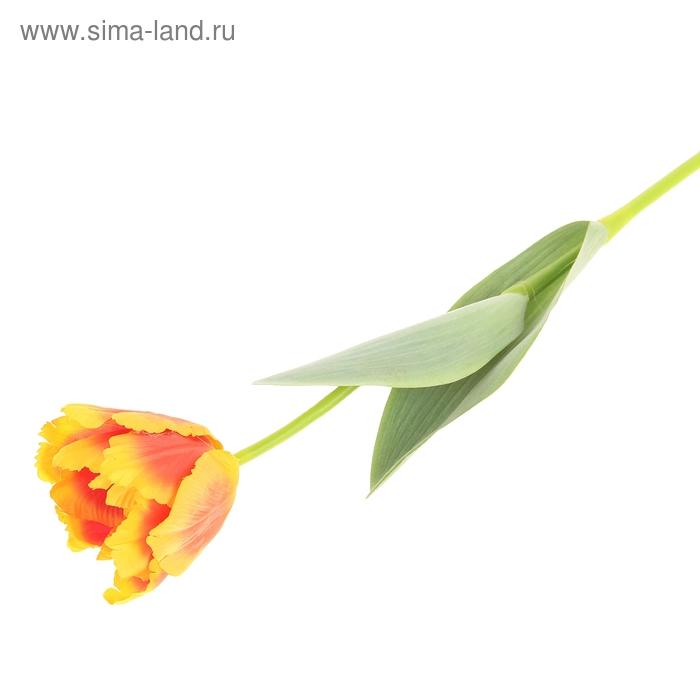 """Цветок искусственный """"Волнистый тюльпан"""" оранжево-жёлтый"""