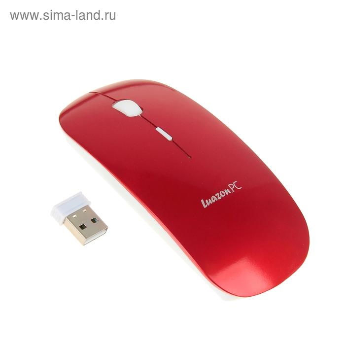 Мышь Luazon L-503, оптическая, беспроводная, USB, красная
