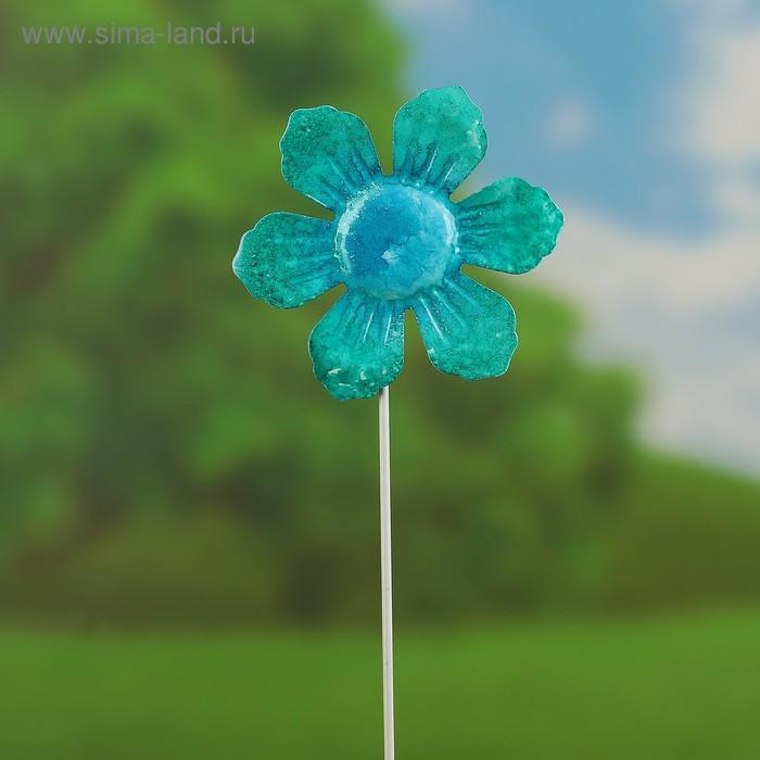 """Декоративный штекер """"Солнечный цветок"""" голубой"""