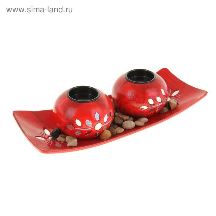 """Набор """"Каменный цветок"""": 2 подсвечника, подставка, декор, цвет красный"""