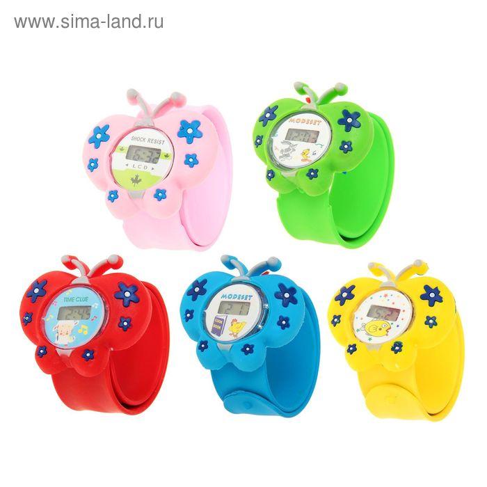 Часы наручные детские, электронные, с силиконовым ремешком, циферблат в виде Бабочки микс
