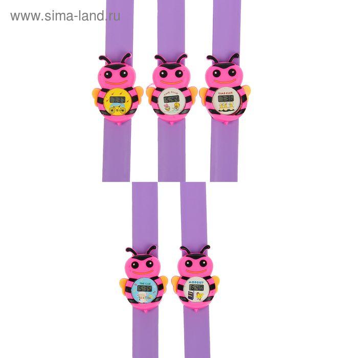 Часы наручные детские, электронные, с силиконовым браслетом, циферблат в виде пчёлки, МИКС