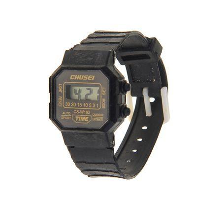 d0ae0b64fa31 Часы наручные электронные Chusei с силиконовым ремешком, циферблат  прямоугольный, чёрные