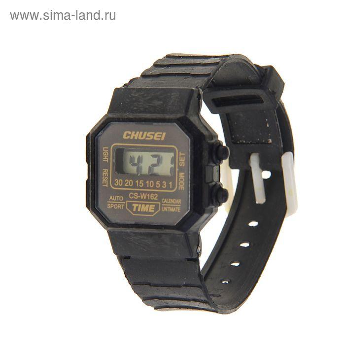 Часы наручные электронные Chusei с силиконовым ремешком, циферблат прямоугольный, чёрные